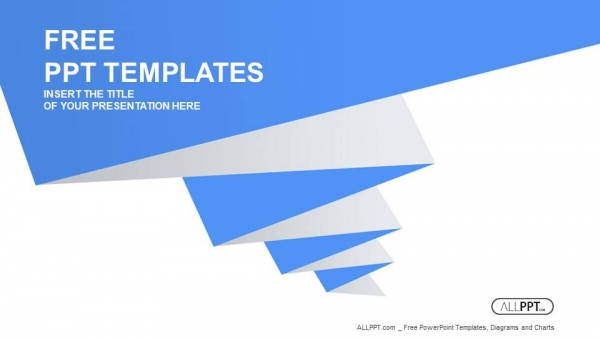 Blue pleated shape on the white background PowerPoint Templates  (1)