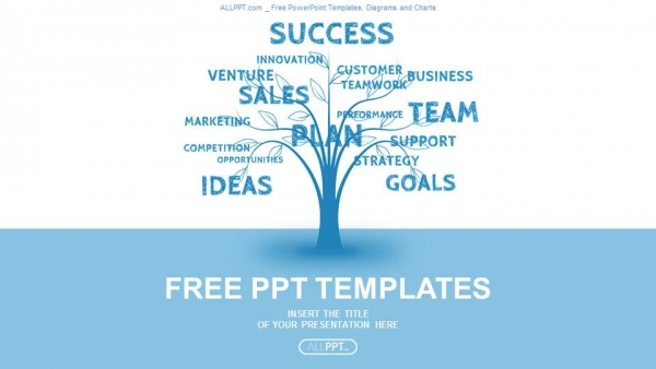 Concept blue word tree leadership marketing or business PowerPoint ...