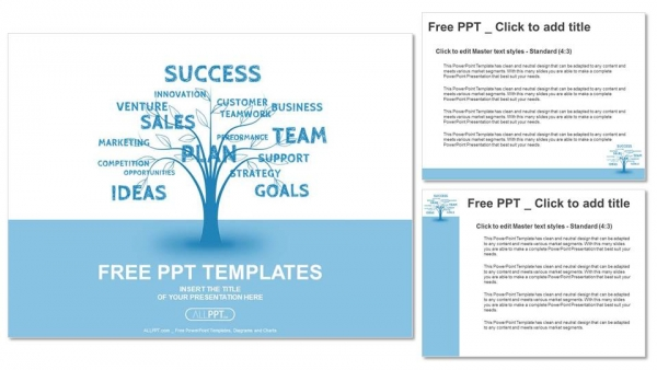 Concept blue word tree leadership marketing or business PowerPoint Templates (4)