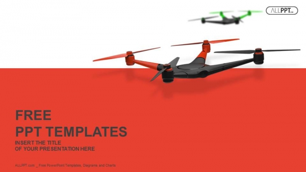 Flying drone. Quadrocopter PowerPoint Templates (1)