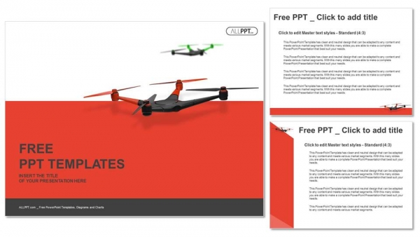 Flying drone. Quadrocopter PowerPoint Templates (4)