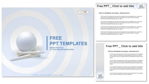 Golf ball and white tees PowerPoint Templates (4)