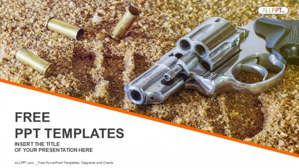 Free military powerpoint templates design handgun and bullets isolated on sand background powerpoint templates toneelgroepblik Image collections