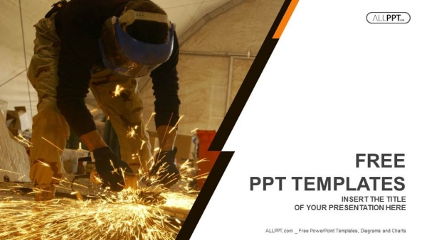 Industrial Worker at the factory welding closeup PowerPoint Templates (1)
