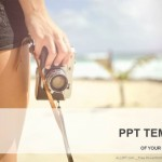 Sporty woman with old photo camera standing on the beach  PowerPoint Templates (1)