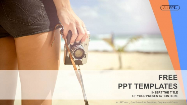 Sporty woman with old photo camera standing on the beach powerpoint sporty woman with old photo camera standing on the beach powerpoint templates toneelgroepblik Choice Image