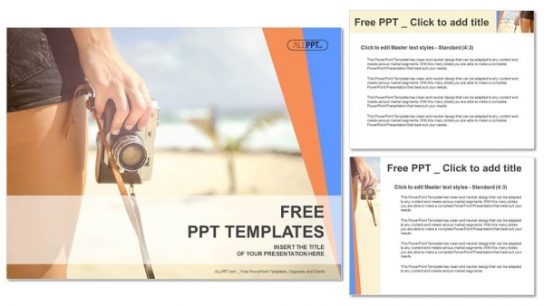 Sporty woman with old photo camera standing on the beach PowerPoint Templates (4)