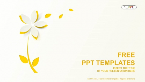 yellow cutout paper flower powerpoint templates, Powerpoint templates