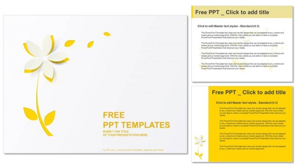 Yellow cutout paper flower PowerPoint Templates (4)