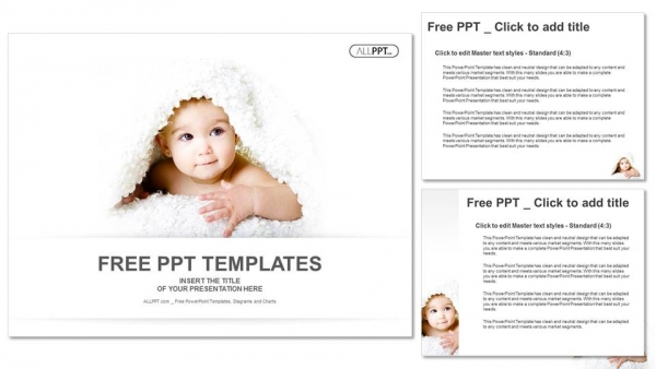 baby is hiding under the white blanket powerpoint templates, Modern powerpoint