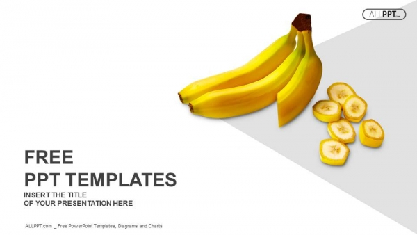 Bananas whole and sliced on white background PowerPoint Templates (1)