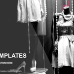 Boutique display window with mannequins in fashionable dresses PowerPoint Templates (1)