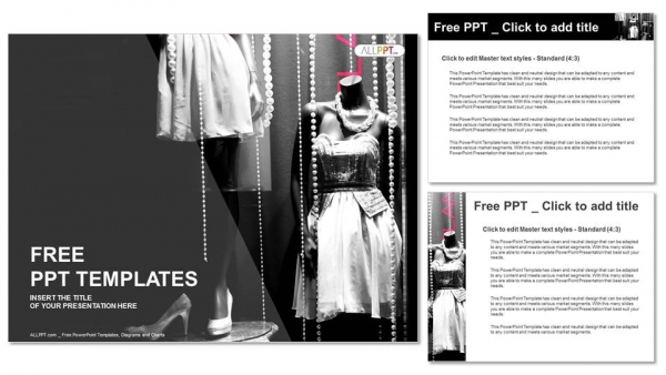 Boutique display window with mannequins in fashionable dresses PowerPoint Templates (4)