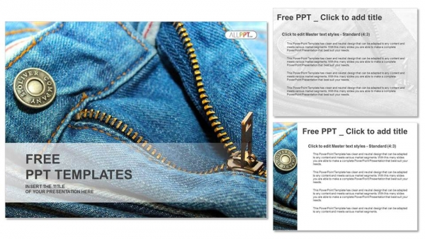 Closeup of zipper on jeans PowerPoint Template (4)