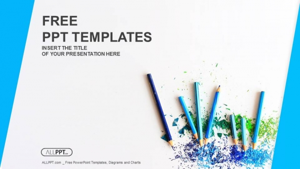Colour pencils with sharpening shavings PowerPoint Templates (1)