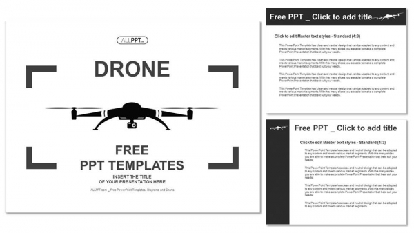 Drone icon in black flat style PowerPoint Templates (4)