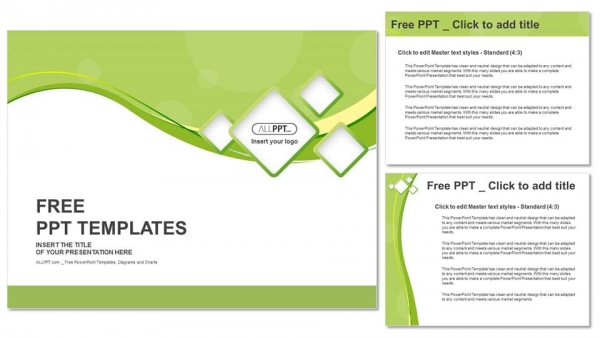 Green abstract background and squares PowerPoint Templates (4)
