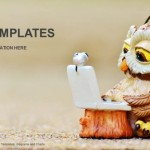 Owl reads the information on the laptop PowerPoint Template (1)