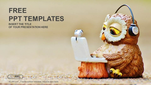 Free computers powerpoint template design owl reads the information on the laptop powerpoint template toneelgroepblik Choice Image
