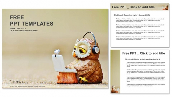 Owl reads the information on the laptop PowerPoint Template (4)