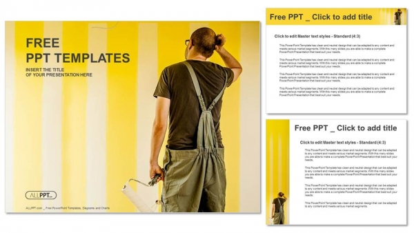 Painter man with a paint roller on the wall PowerPoint Templates (4)
