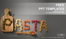 Pasta word written with pieces of pasta PowerPoint Templates