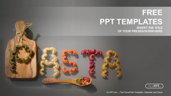 Pasta word written with pieces of pasta PowerPoint Templates (1)