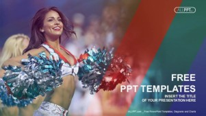 Portrait of cheerleaders with pompoms PowerPoint Templates