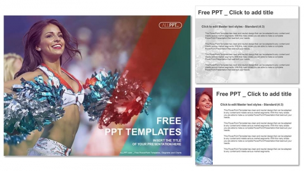 Portrait of cheerleaders with pompoms PowerPoint Templates (4)