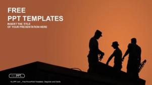 Silhouette of construction worker PowerPoint Templates