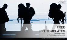 Silhouette of military soldier with weapons PowerPoint Templates