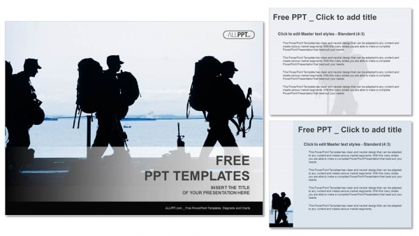 Silhouette of military soldier with weapons PowerPoint Templates (4)