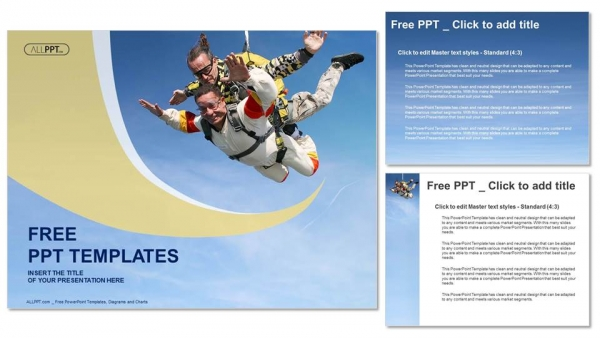 Skydiving tandem exhilaration PowerPoint Templates (4)