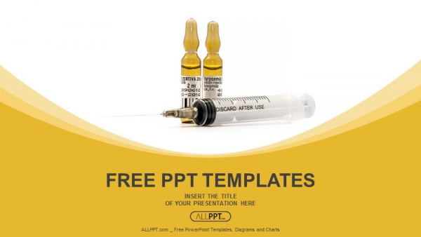 Free medical powerpoint templates design syringe with needle and brown ampoule powerpoint templates toneelgroepblik Image collections