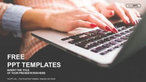 Typing on a laptop with red manicure PowerPoint Templates