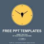 Yellow round clock on gray background PowerPoint Templates  (1)