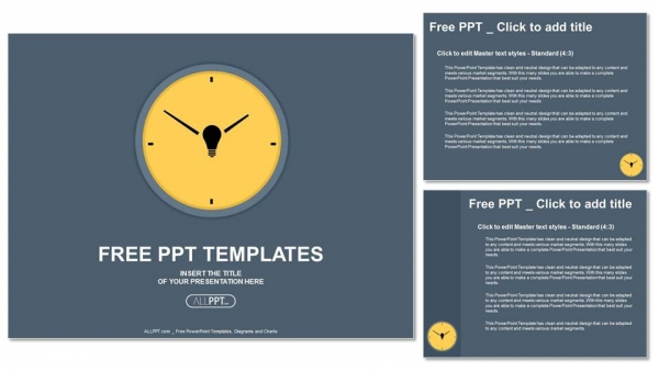 Yellow round clock on gray background PowerPoint Templates (4)