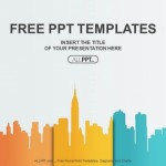 City buildings silhouettes and colors PowerPoint Templates  (1)