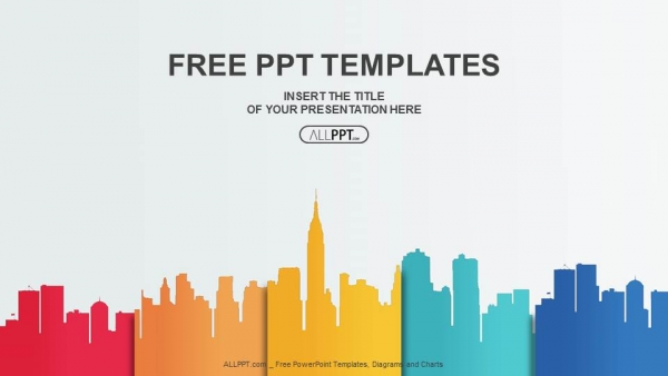 Free business powerpoint templates design city buildings silhouettes and colors powerpoint templates wajeb Gallery