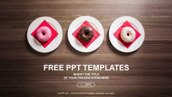 colorful donuts on the plate powerpoint templates, Modern powerpoint