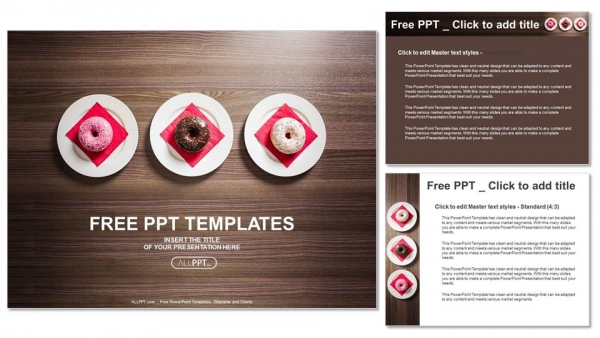 Colorful donuts on the plate PowerPoint Templates (4)