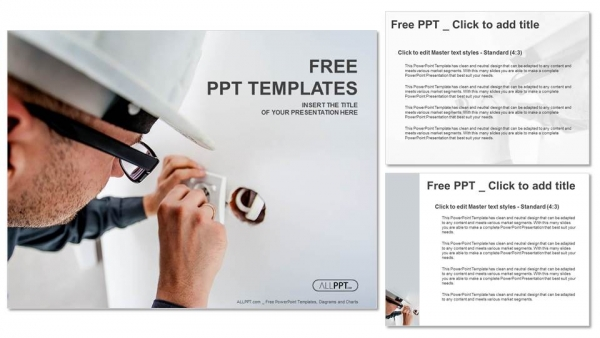 Electrician working at plug socket PowerPoint Templates (4)