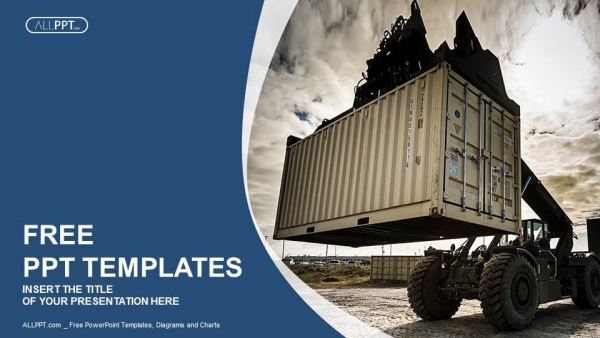 Free blue concept powerpoint templates design forklift handling the container box powerpoint templates toneelgroepblik Images