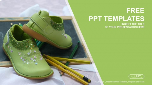 Green shoe and pencil on blackboard PowerPoint Templates (1)