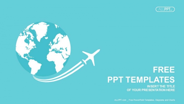 jet airplane travel on earth powerpoint templates, Powerpoint templates