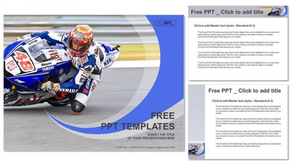 Motorcycle racing into a fast corner on track PowerPoint Templates (4)