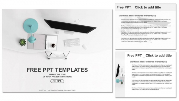 Top view of office supplies on table PowerPoint Templates (4)