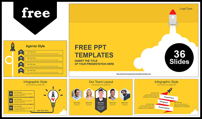 rocket launched powerpoint template post - Template