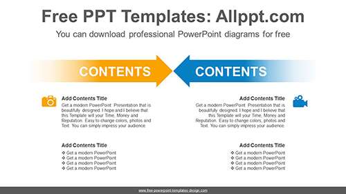 Two opposing arrows PowerPoint Diagram Template-list image