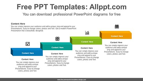 3D format staircase PowerPoint Diagram Template-list image